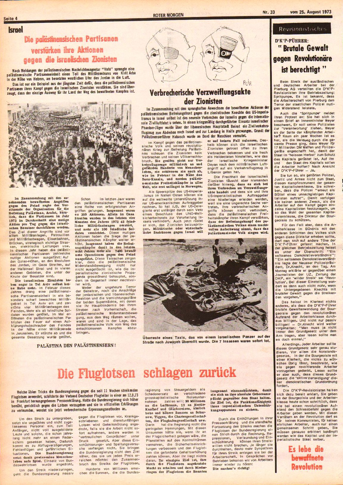 Roter Morgen, 7. Jg., 25. August 1973, Nr. 33, Seite 4
