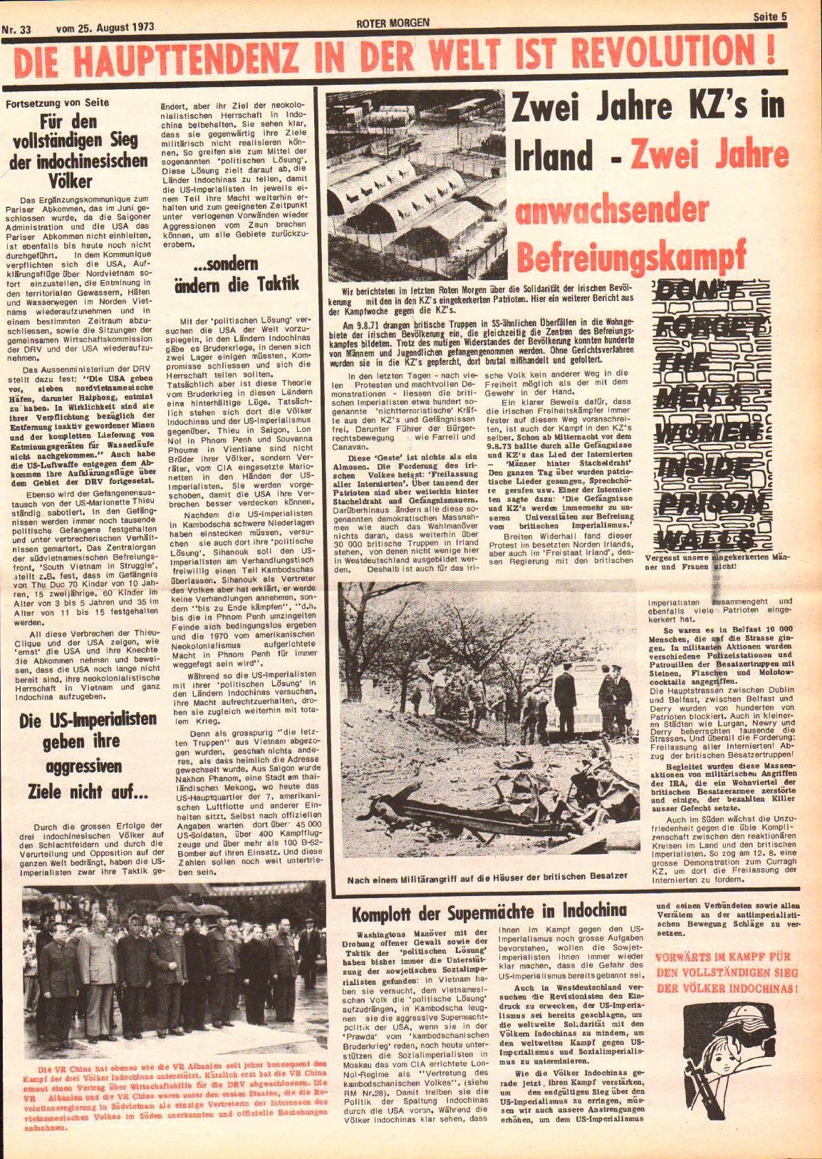 Roter Morgen, 7. Jg., 25. August 1973, Nr. 33, Seite 5