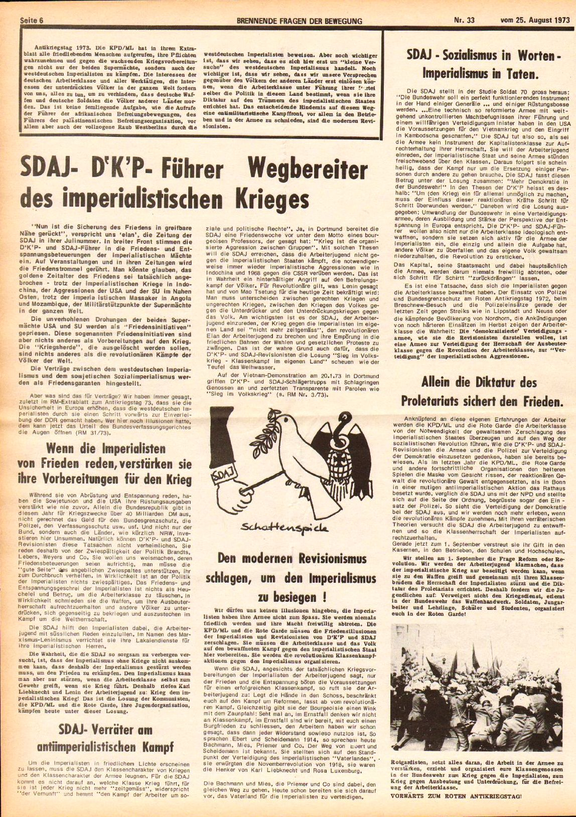 Roter Morgen, 7. Jg., 25. August 1973, Nr. 33, Seite 6