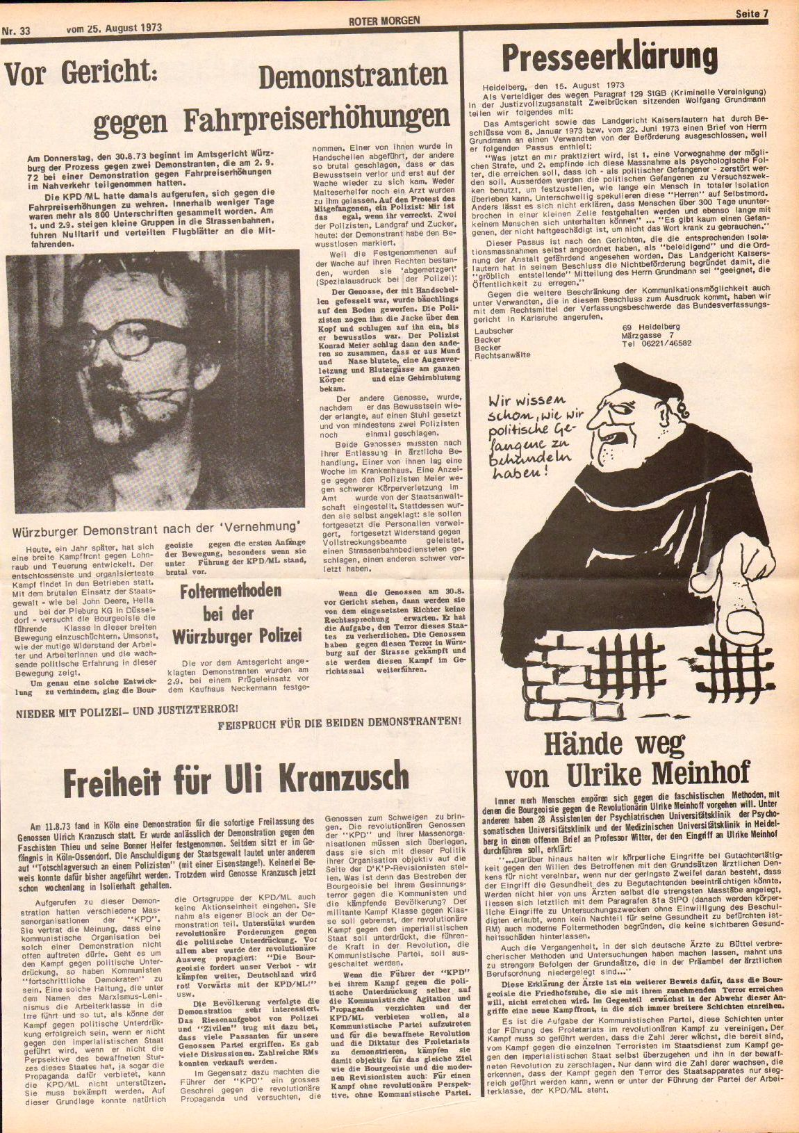 Roter Morgen, 7. Jg., 25. August 1973, Nr. 33, Seite 7
