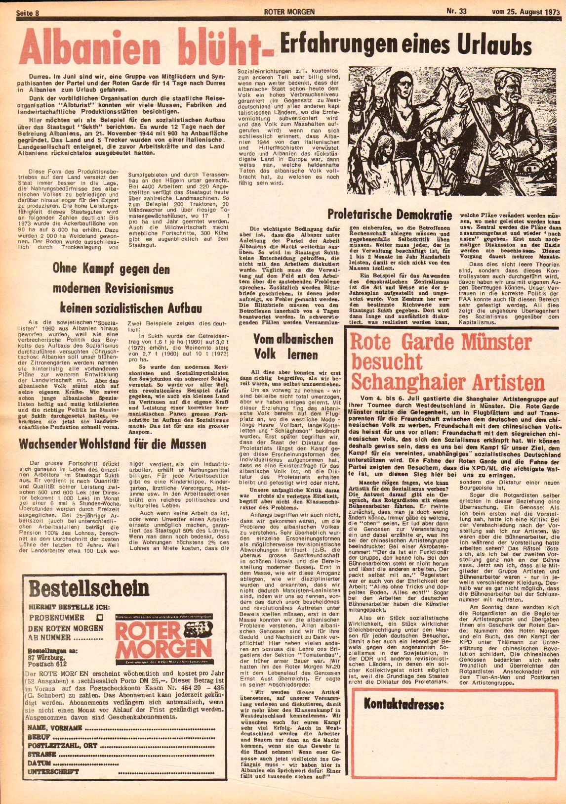 Roter Morgen, 7. Jg., 25. August 1973, Nr. 33, Seite 8