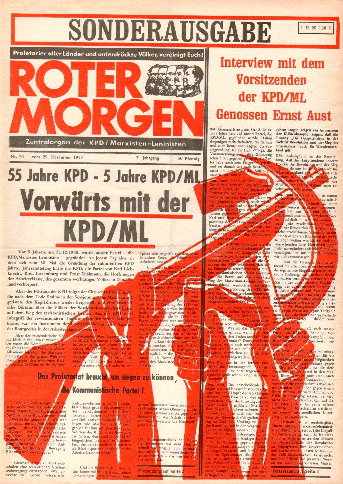 Roter Morgen, 7. Jg., 29. Dezember 1973, Nr. 51, Seite 1