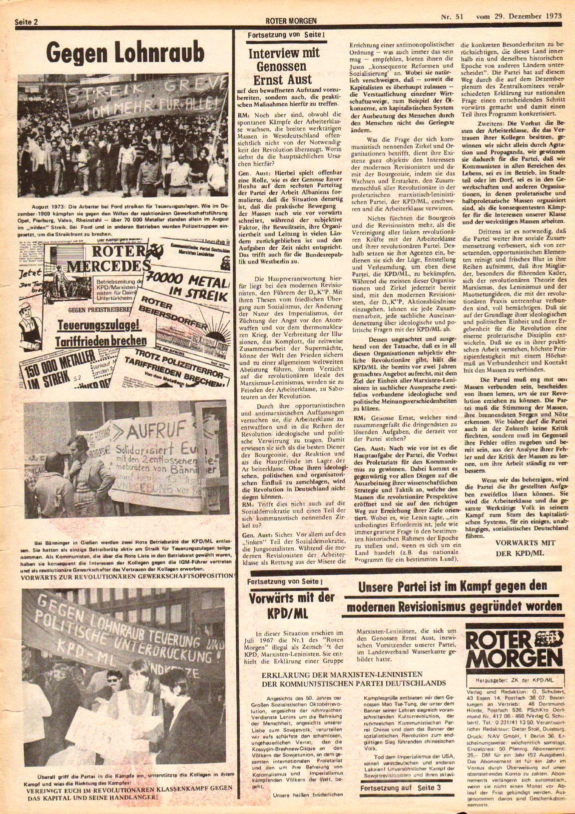Roter Morgen, 7. Jg., 29. Dezember 1973, Nr. 51, Seite 2