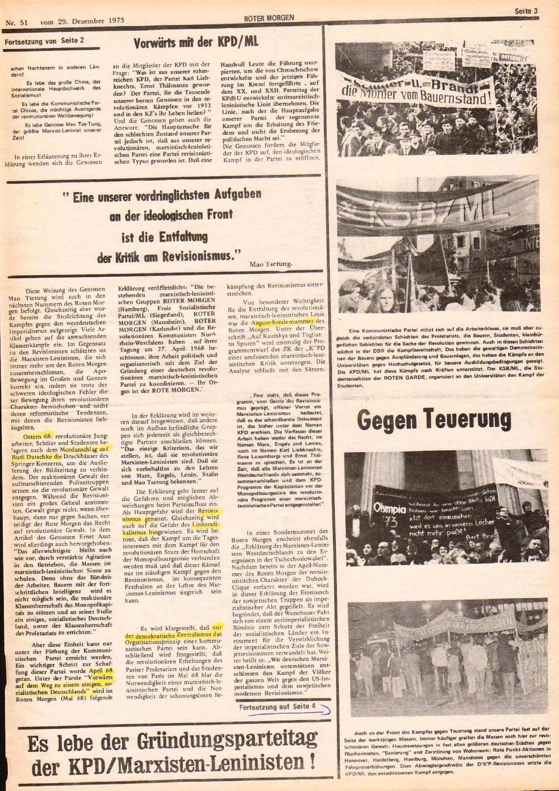 Roter Morgen, 7. Jg., 29. Dezember 1973, Nr. 51, Seite 3