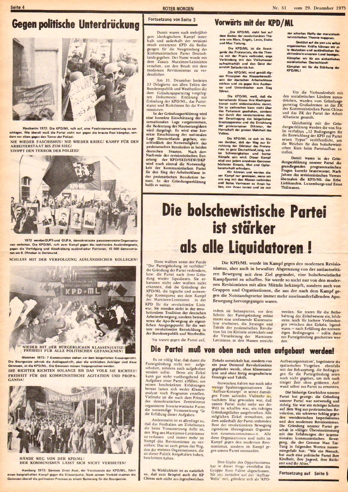 Roter Morgen, 7. Jg., 29. Dezember 1973, Nr. 51, Seite 4
