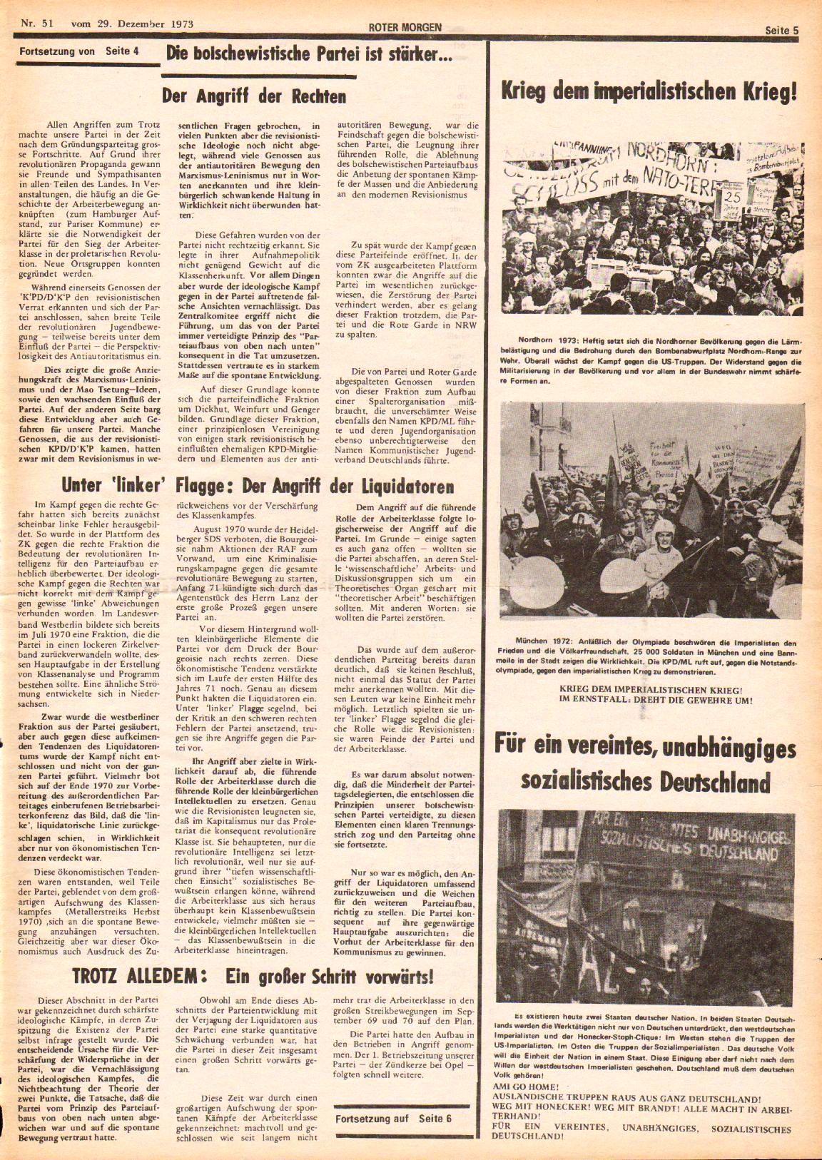 Roter Morgen, 7. Jg., 29. Dezember 1973, Nr. 51, Seite 5