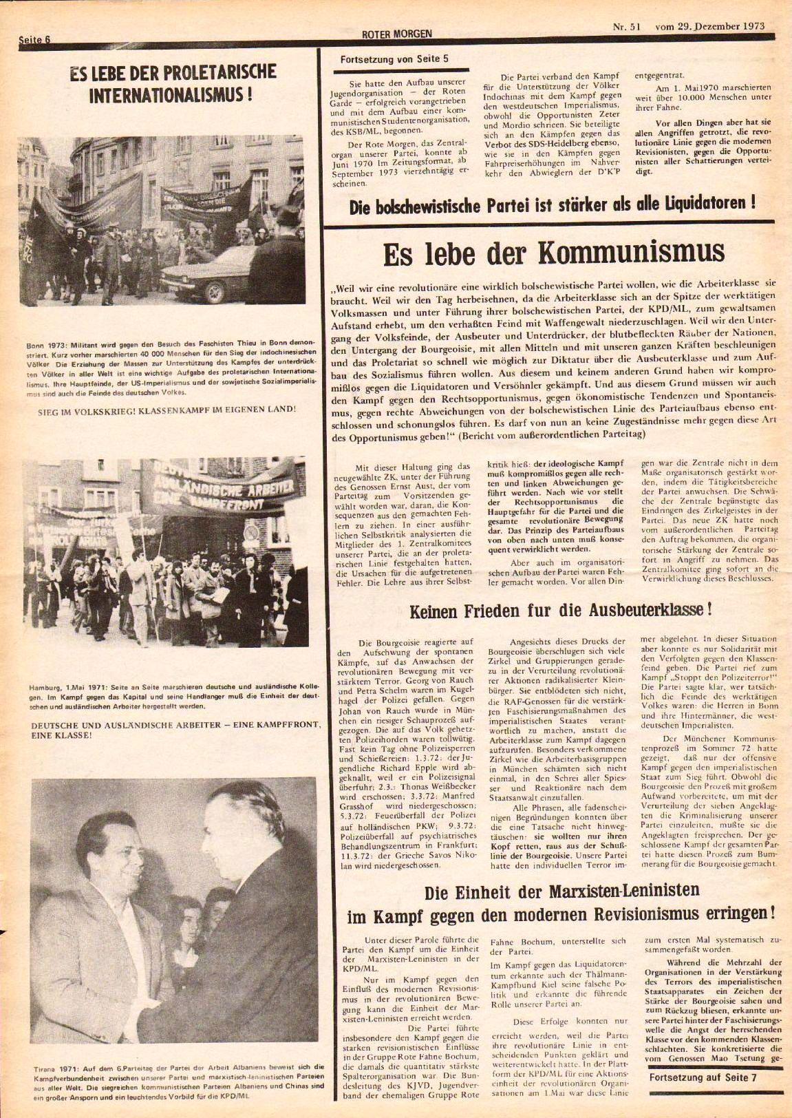 Roter Morgen, 7. Jg., 29. Dezember 1973, Nr. 51, Seite 6