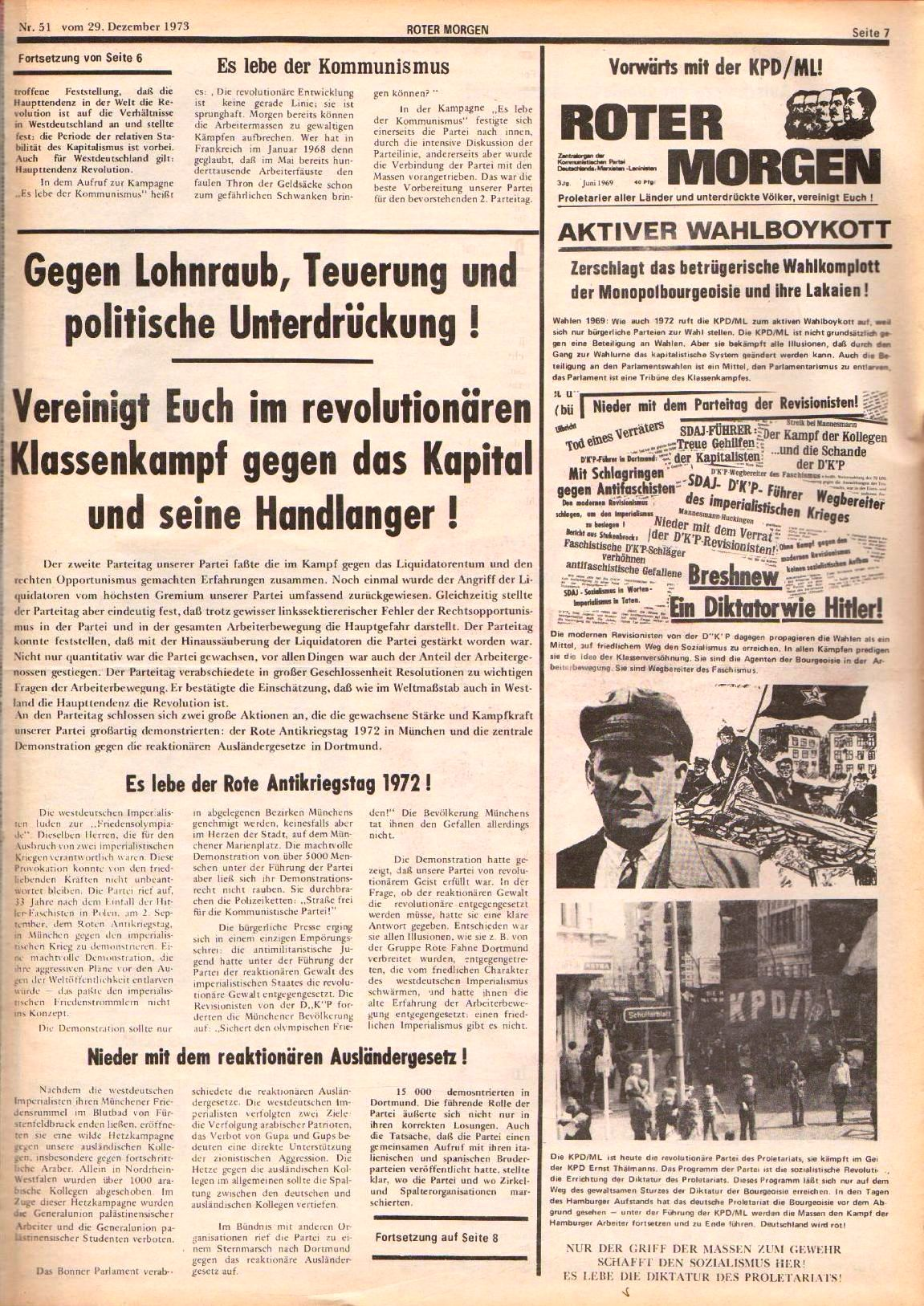 Roter Morgen, 7. Jg., 29. Dezember 1973, Nr. 51, Seite 7