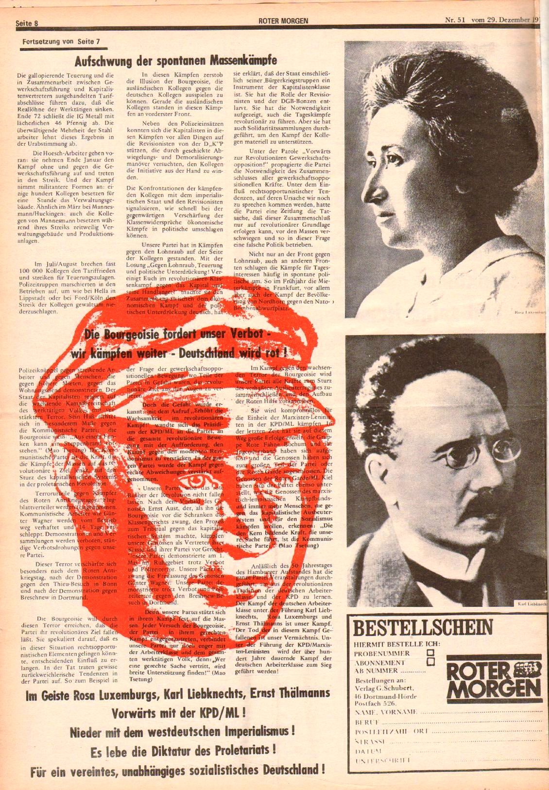 Roter Morgen, 7. Jg., 29. Dezember 1973, Nr. 51, Seite 8