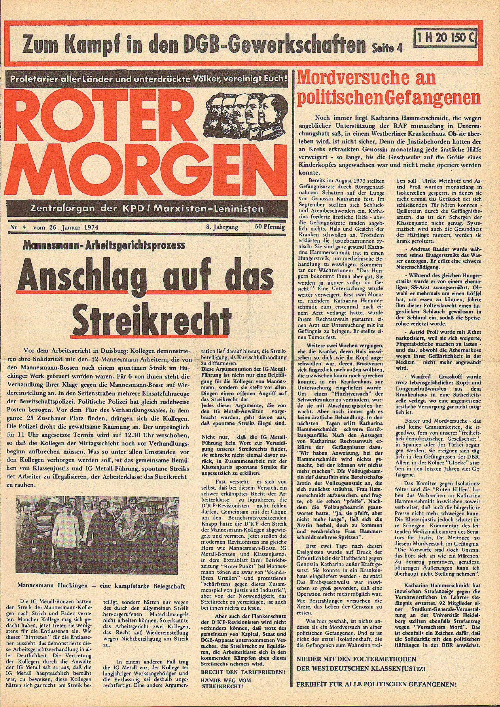 Roter Morgen, 8. Jg., 26. Januar 1974, Nr. 4, Seite 1