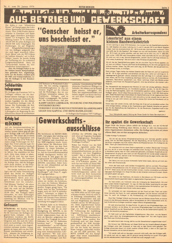 Roter Morgen, 8. Jg., 26. Januar 1974, Nr. 4, Seite 3