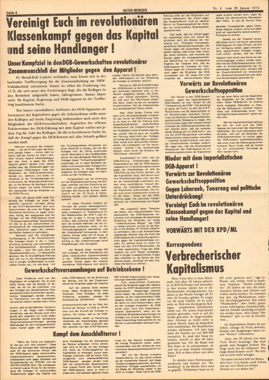 Roter Morgen, 8. Jg., 26. Januar 1974, Nr. 4, Seite 4