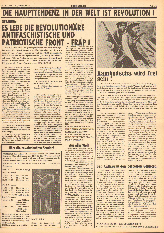 Roter Morgen, 8. Jg., 26. Januar 1974, Nr. 4, Seite 5