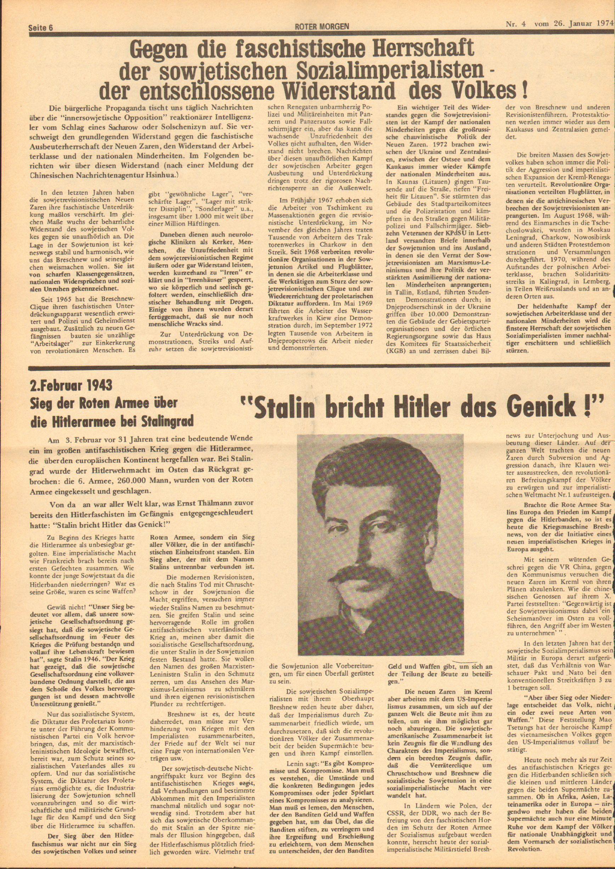 Roter Morgen, 8. Jg., 26. Januar 1974, Nr. 4, Seite 6