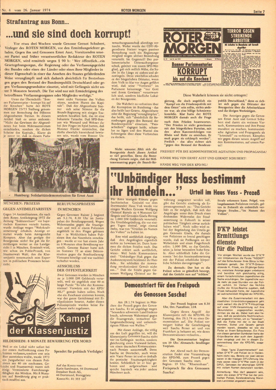 Roter Morgen, 8. Jg., 26. Januar 1974, Nr. 4, Seite 7
