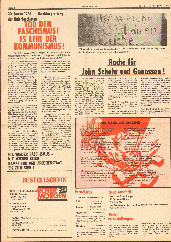 Roter Morgen, 8. Jg., 26. Januar 1974, Nr. 4, Seite 8