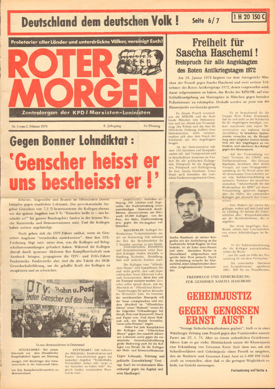 Roter Morgen, 8. Jg., 2. Februar 1974, Nr. 5, Seite 1