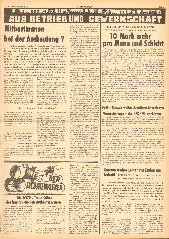 Roter Morgen, 8. Jg., 2. Februar 1974, Nr. 5, Seite 3