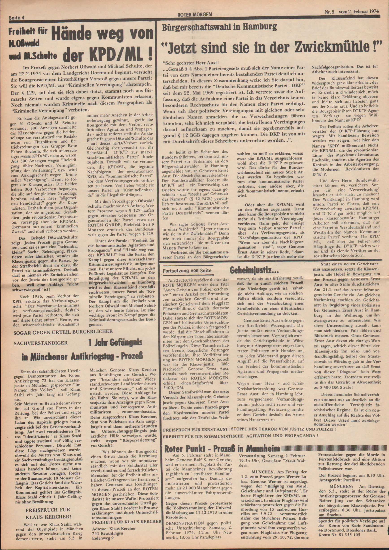 Roter Morgen, 8. Jg., 2. Februar 1974, Nr. 5, Seite 4