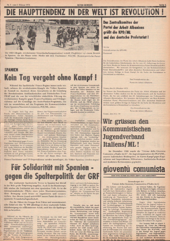 Roter Morgen, 8. Jg., 2. Februar 1974, Nr. 5, Seite 5