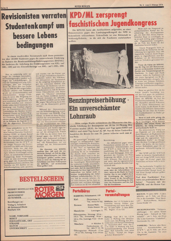Roter Morgen, 8. Jg., 2. Februar 1974, Nr. 5, Seite 8