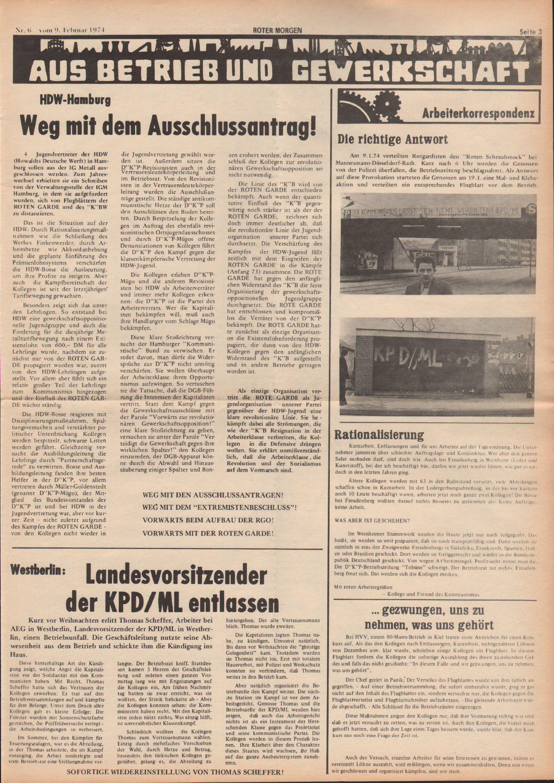 Roter Morgen, 8. Jg., 9. Februar 1974, Nr. 6, Seite 3
