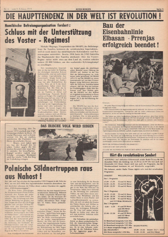 Roter Morgen, 8. Jg., 9. Februar 1974, Nr. 6, Seite 5