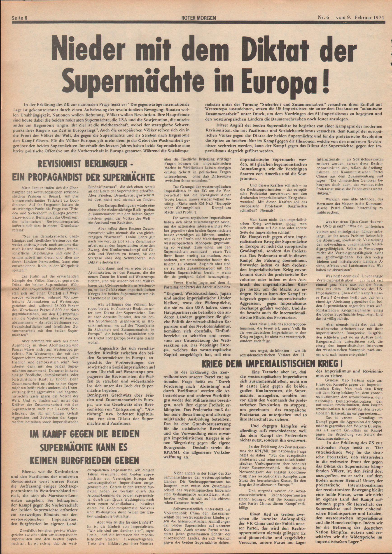 Roter Morgen, 8. Jg., 9. Februar 1974, Nr. 6, Seite 6