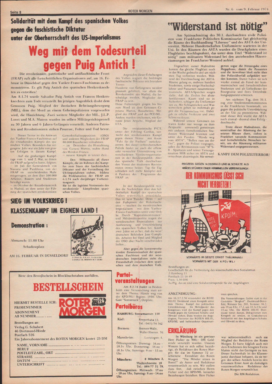 Roter Morgen, 8. Jg., 9. Februar 1974, Nr. 6, Seite 8