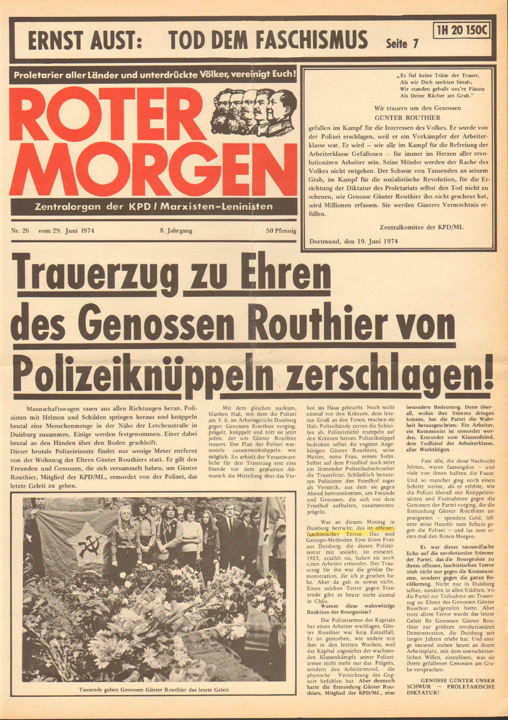 Roter Morgen, 8. Jg., 29. Juni 1974, Nr. 26, Seite 1