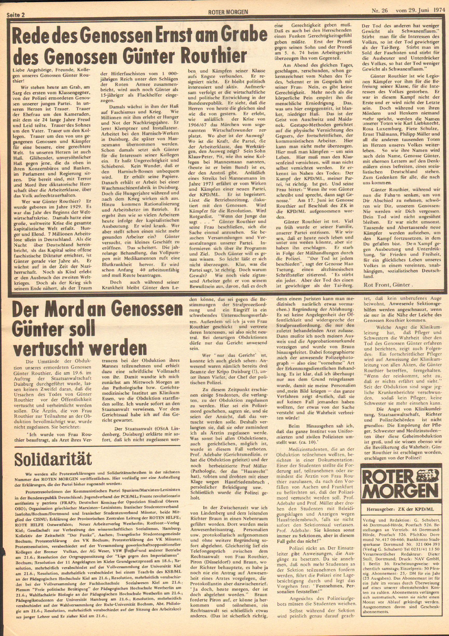 Roter Morgen, 8. Jg., 29. Juni 1974, Nr. 26, Seite 2