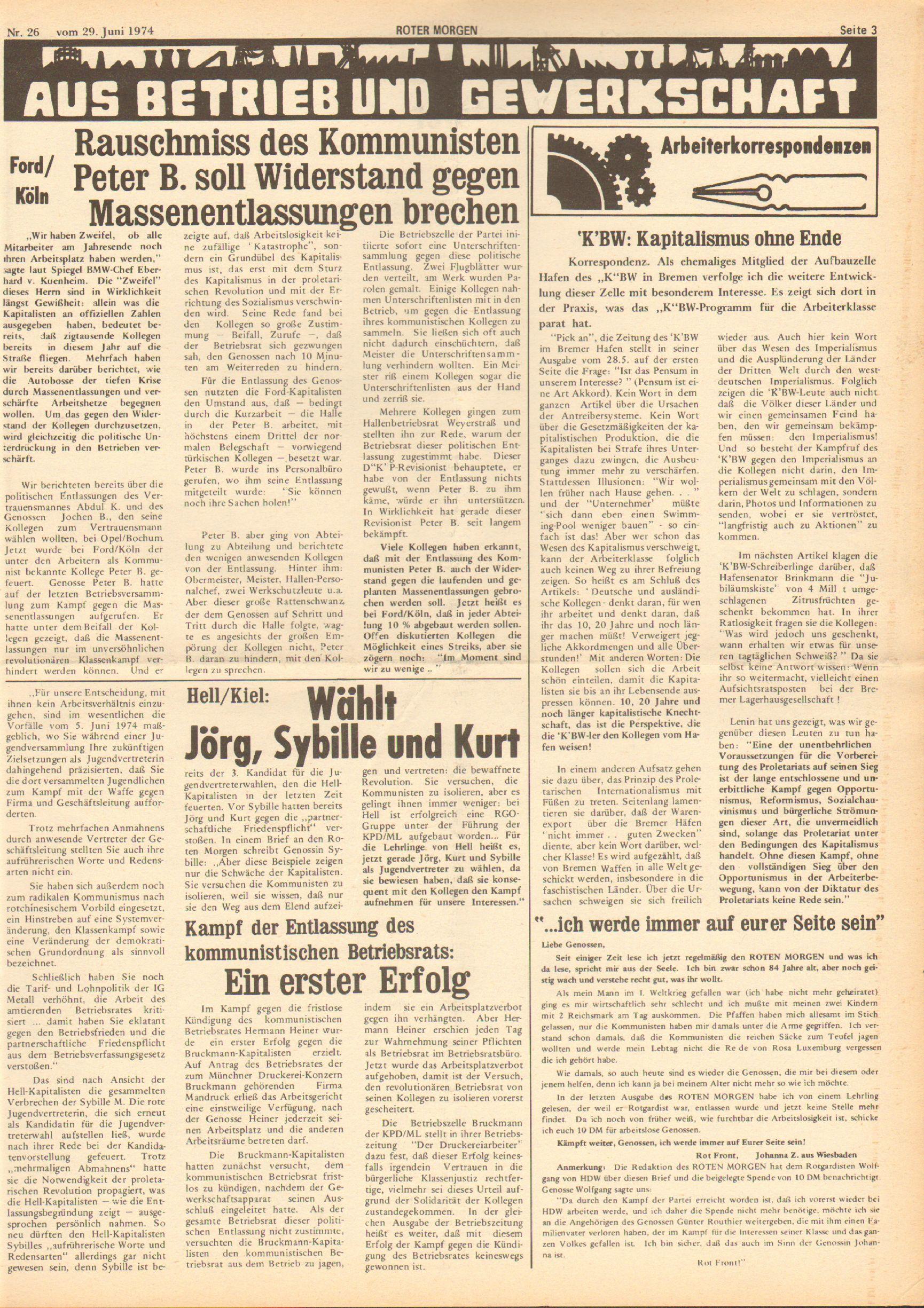 Roter Morgen, 8. Jg., 29. Juni 1974, Nr. 26, Seite 3