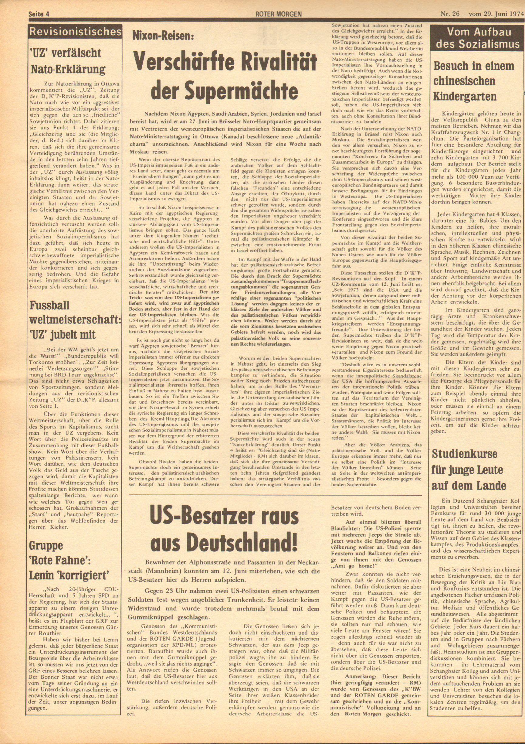 Roter Morgen, 8. Jg., 29. Juni 1974, Nr. 26, Seite 4