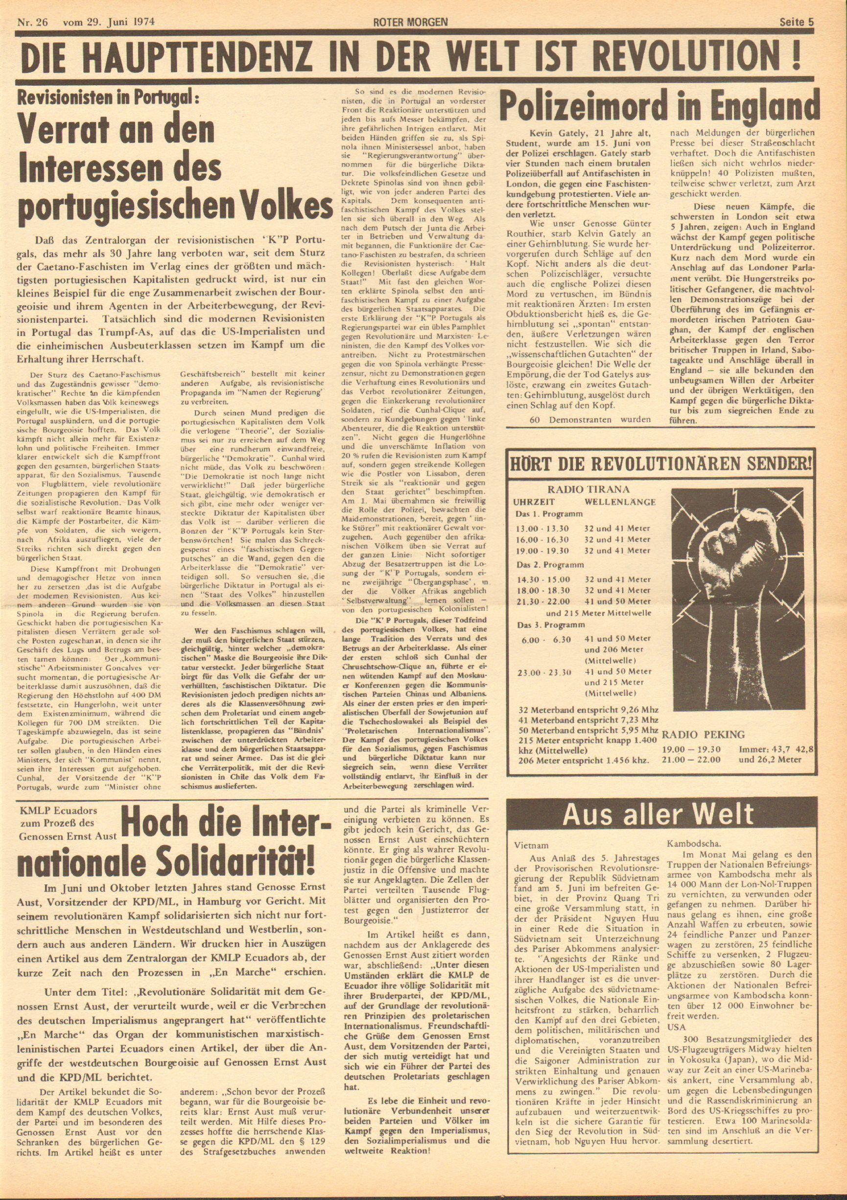 Roter Morgen, 8. Jg., 29. Juni 1974, Nr. 26, Seite 5