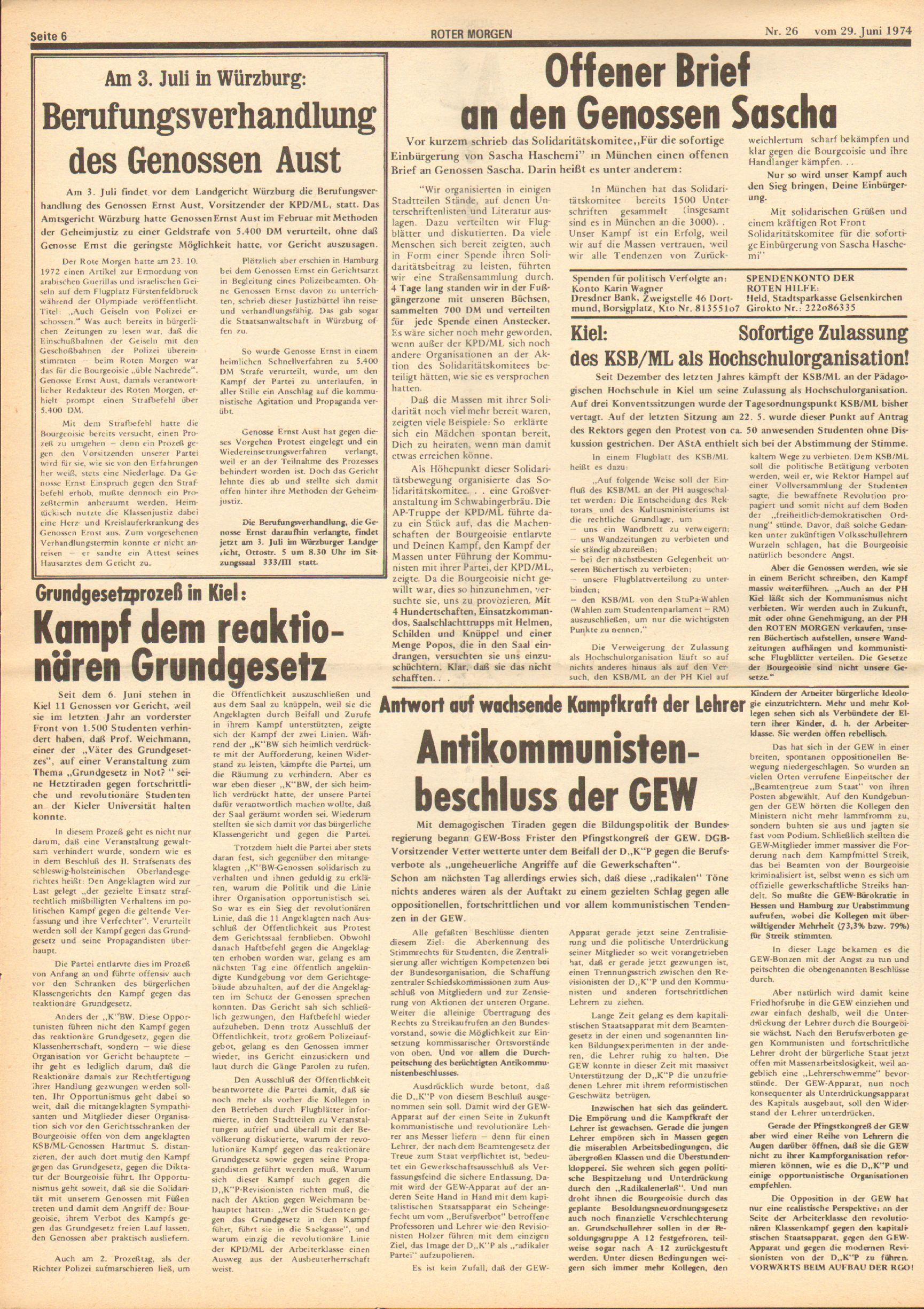 Roter Morgen, 8. Jg., 29. Juni 1974, Nr. 26, Seite 6