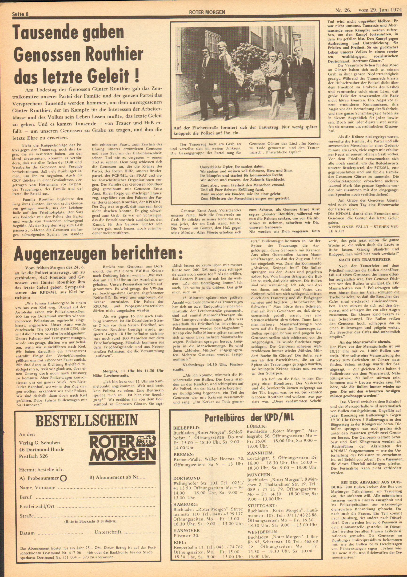 Roter Morgen, 8. Jg., 29. Juni 1974, Nr. 26, Seite 8