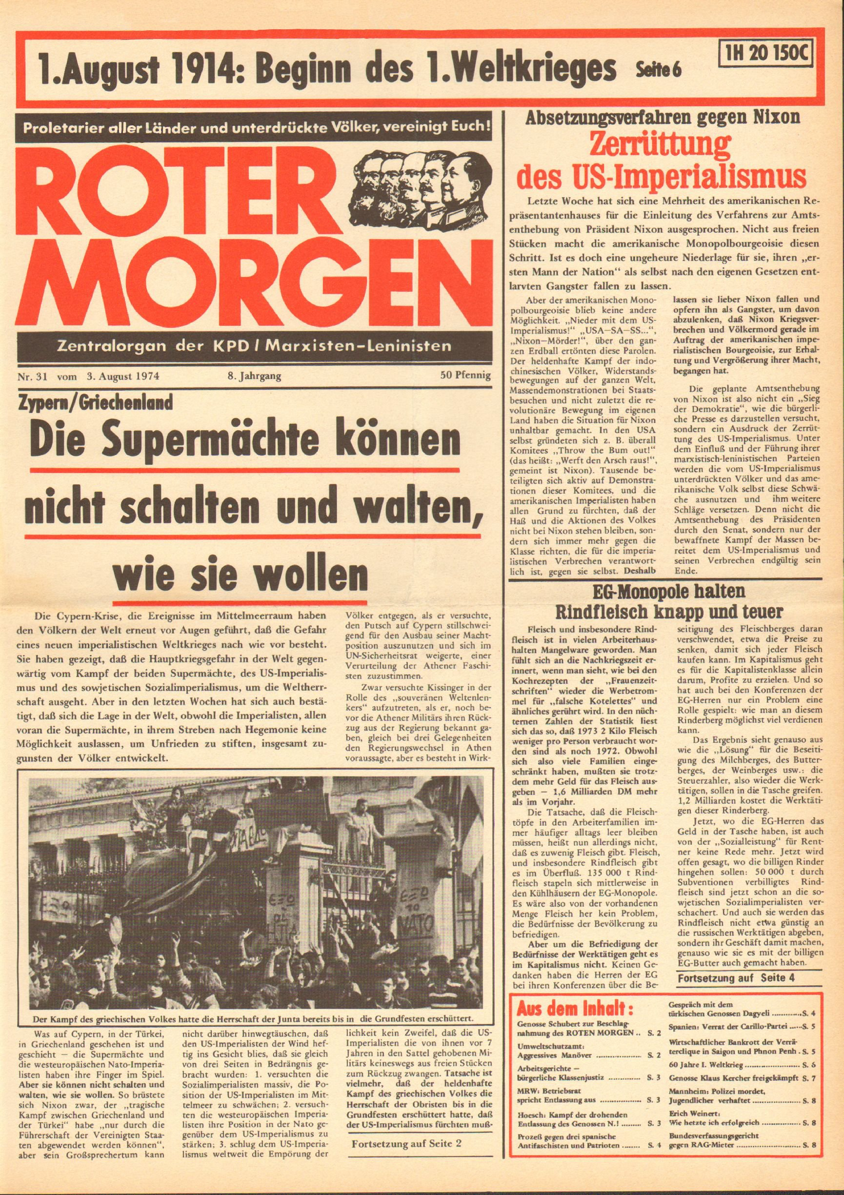 Roter Morgen, 8. Jg., 3. August 1974, Nr. 31, Seite 1