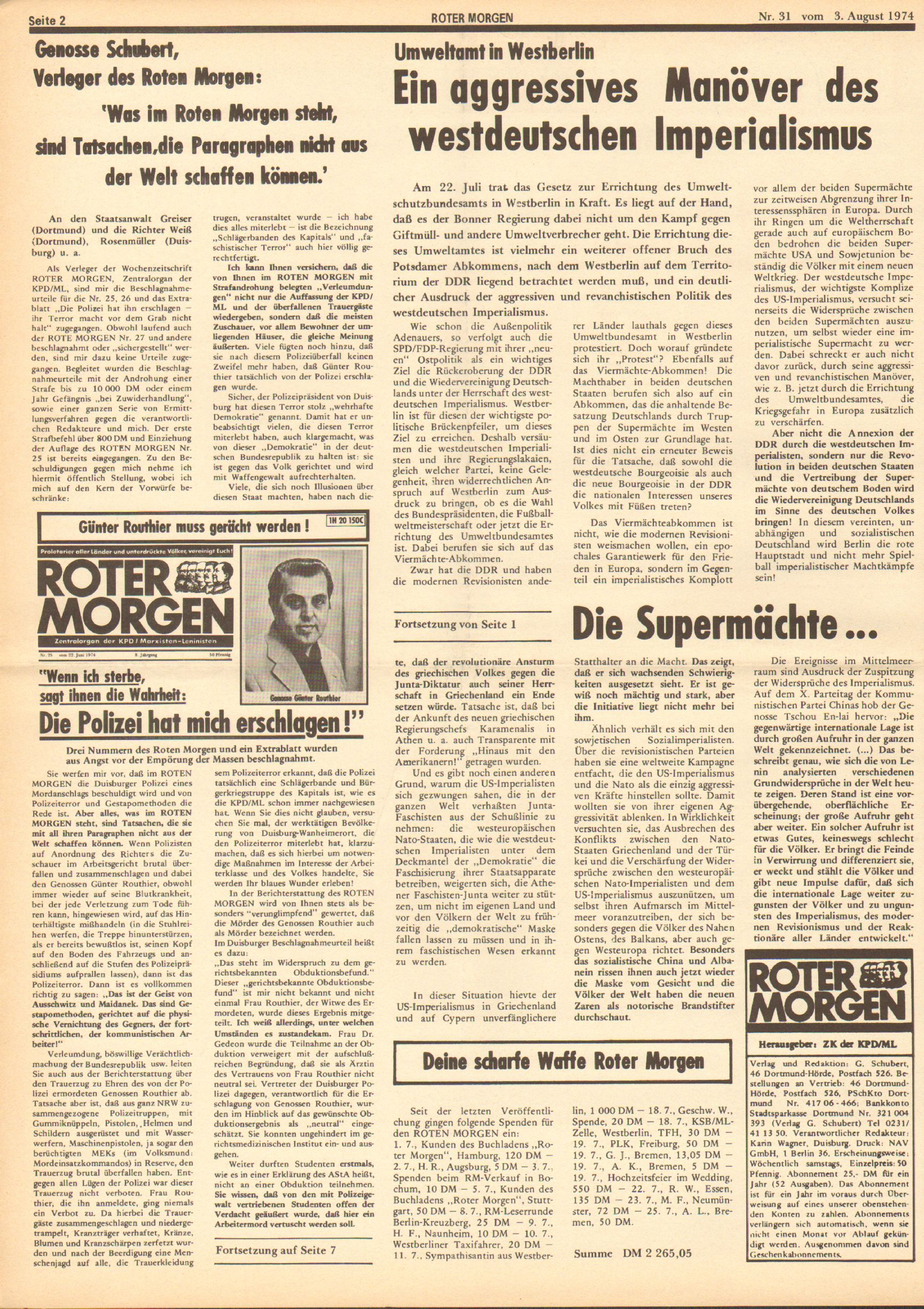 Roter Morgen, 8. Jg., 3. August 1974, Nr. 31, Seite 2