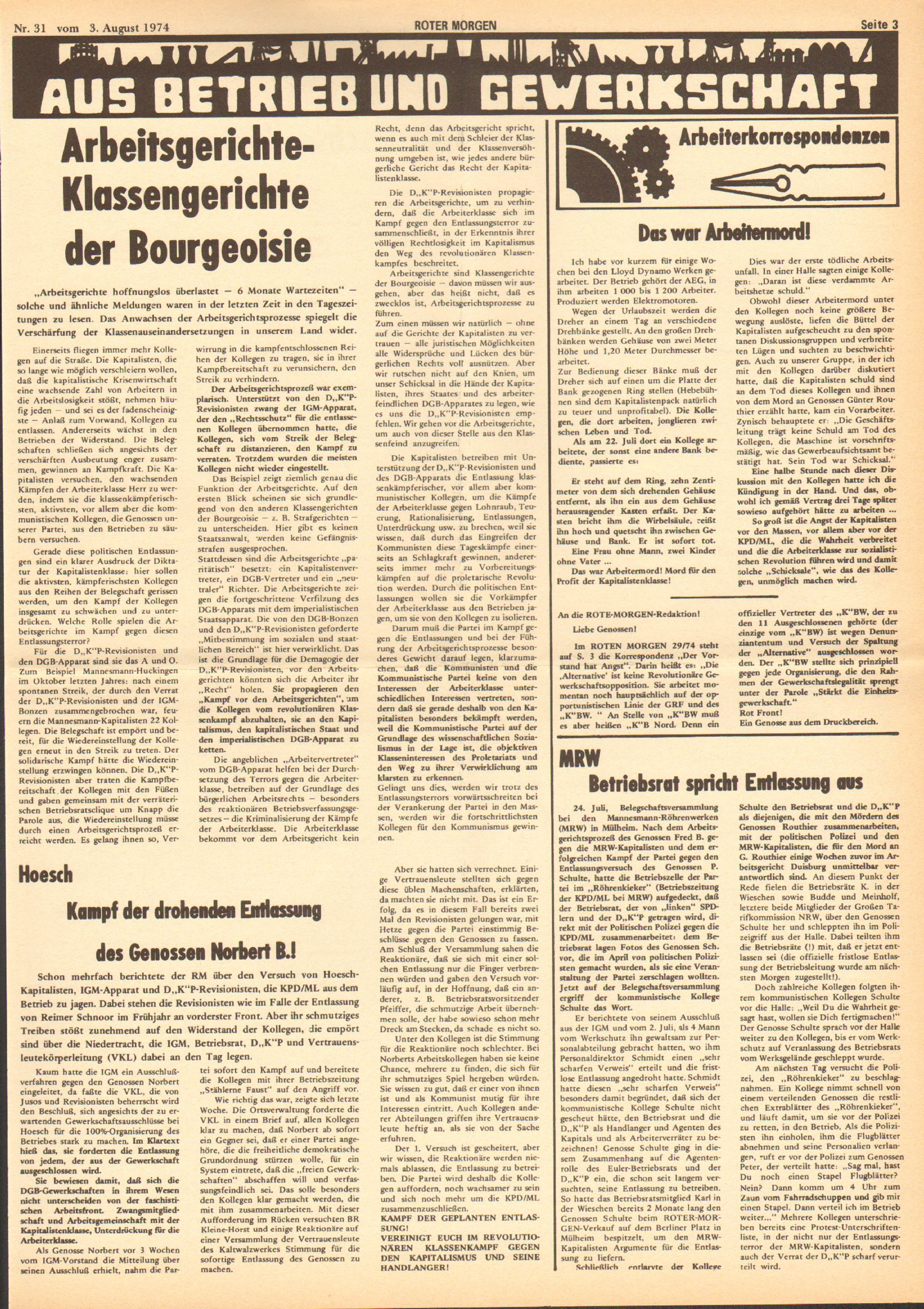 Roter Morgen, 8. Jg., 3. August 1974, Nr. 31, Seite 3