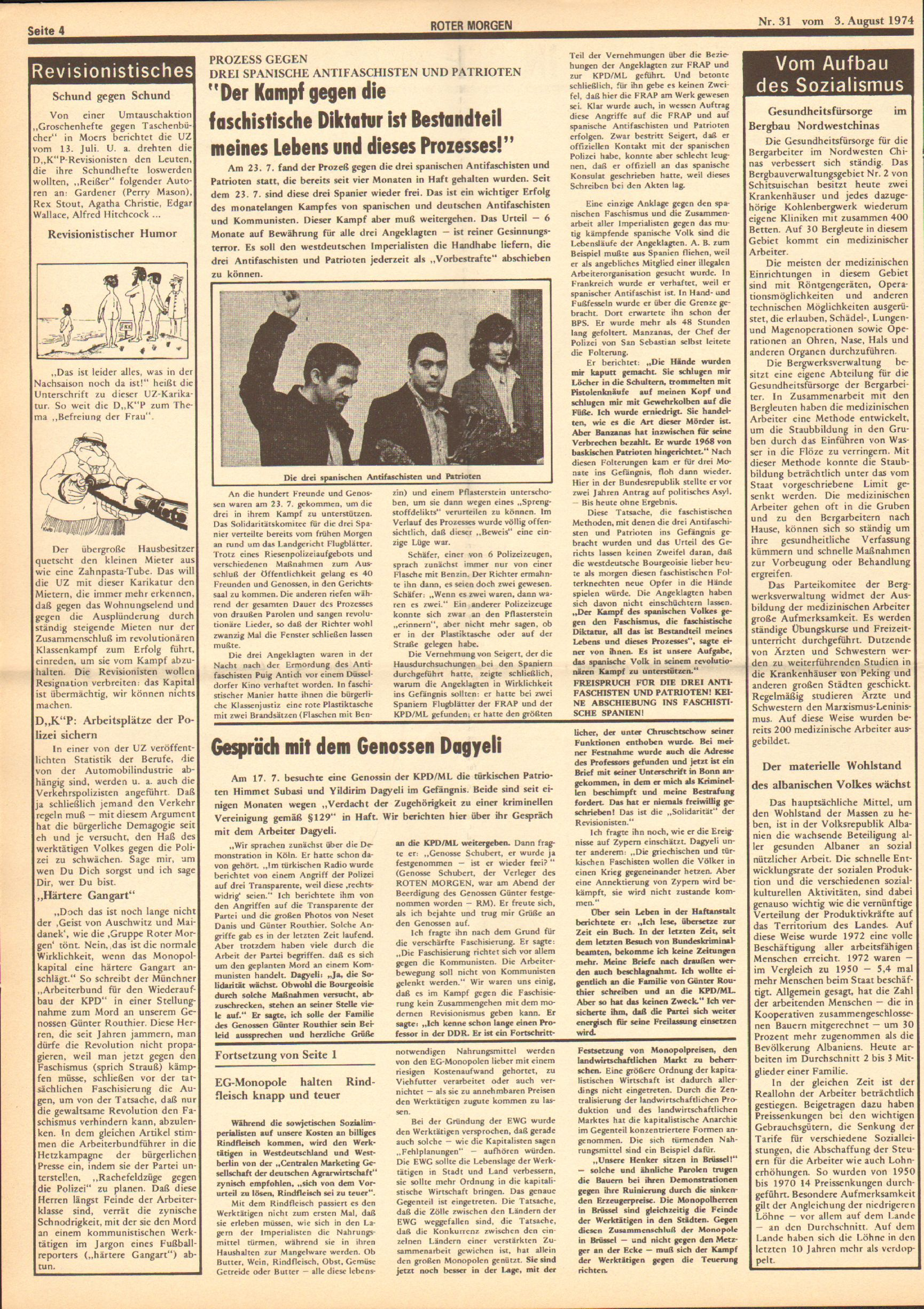 Roter Morgen, 8. Jg., 3. August 1974, Nr. 31, Seite 4