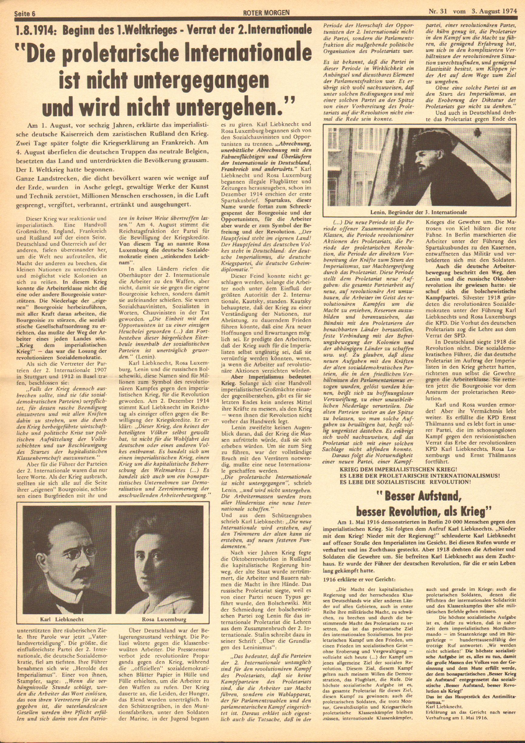 Roter Morgen, 8. Jg., 3. August 1974, Nr. 31, Seite 6