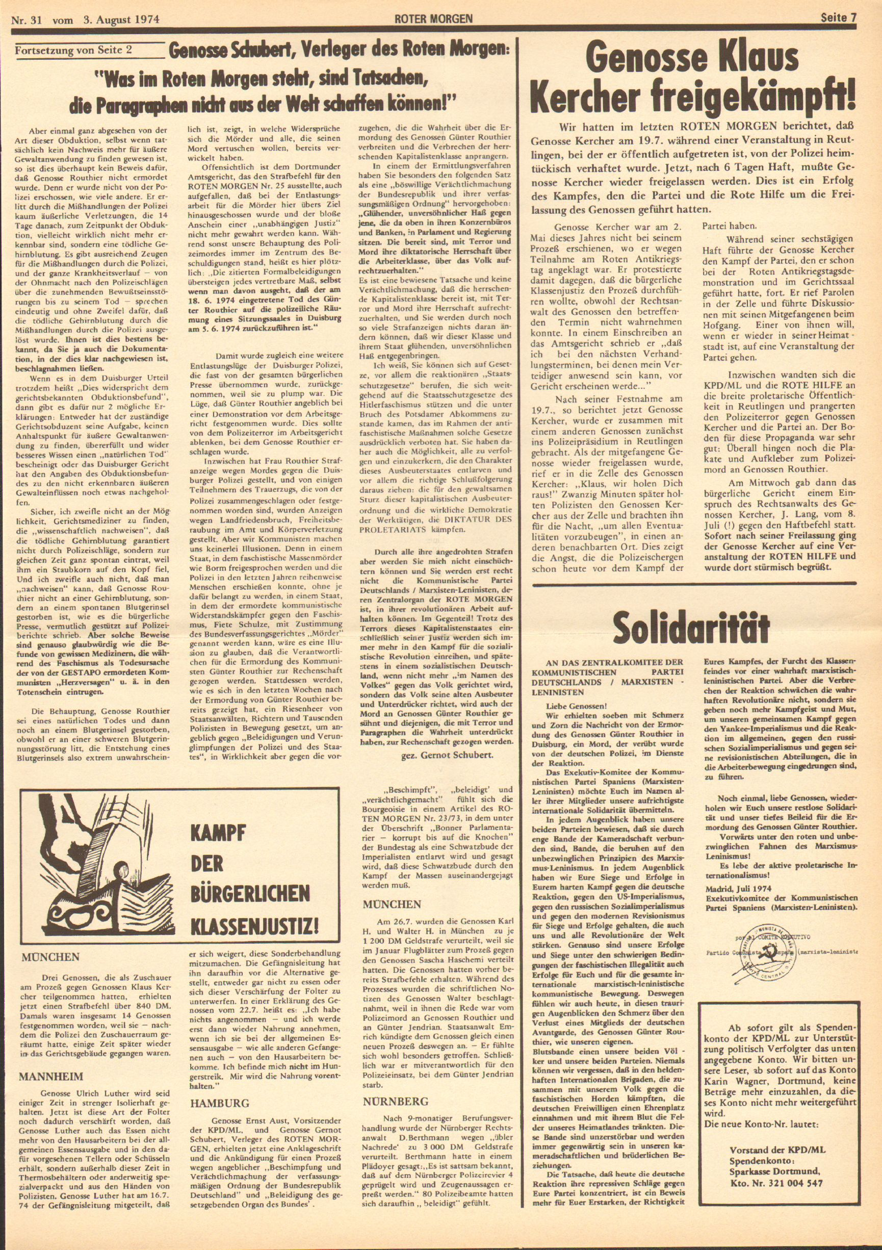 Roter Morgen, 8. Jg., 3. August 1974, Nr. 31, Seite 7