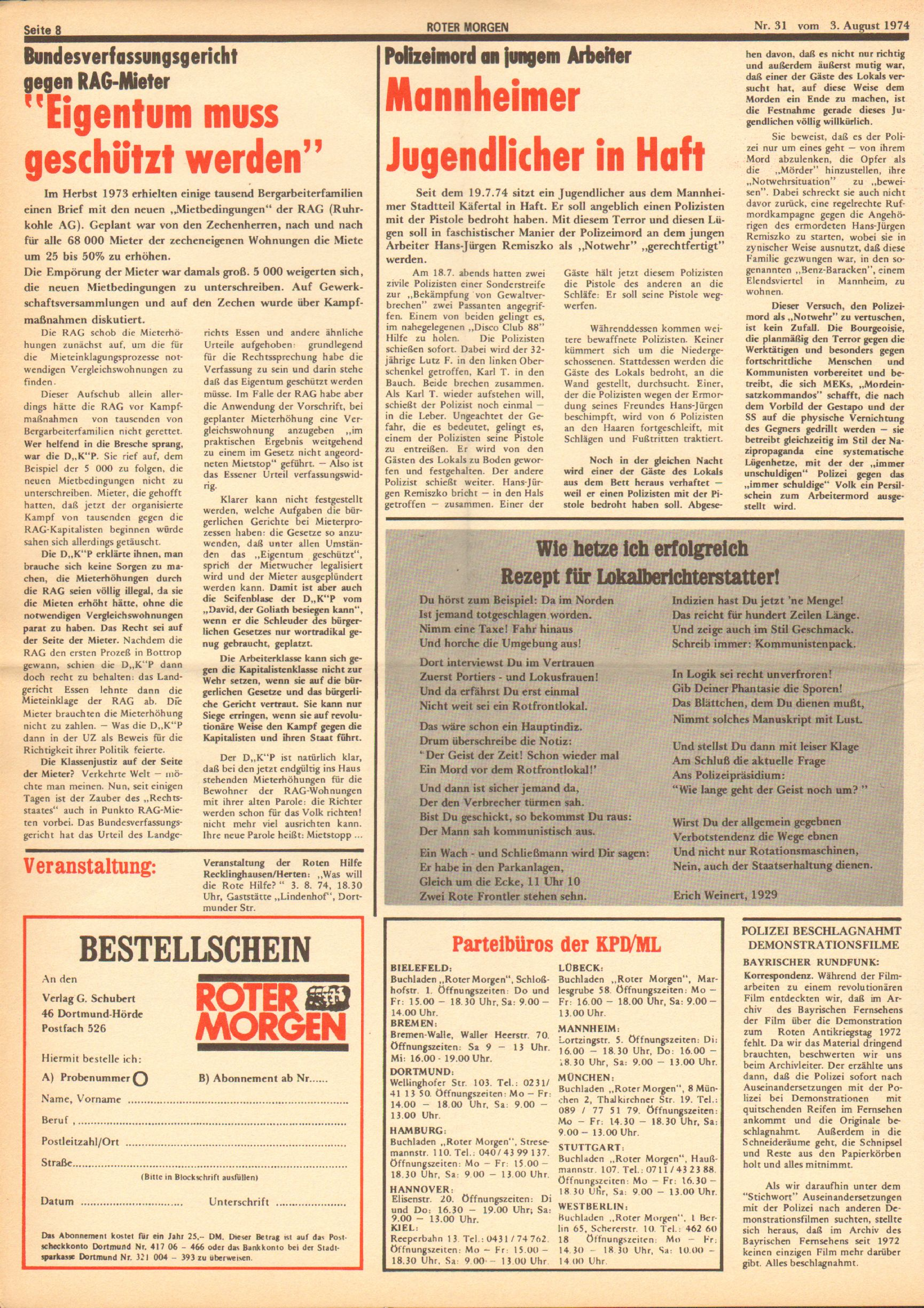 Roter Morgen, 8. Jg., 3. August 1974, Nr. 31, Seite 8