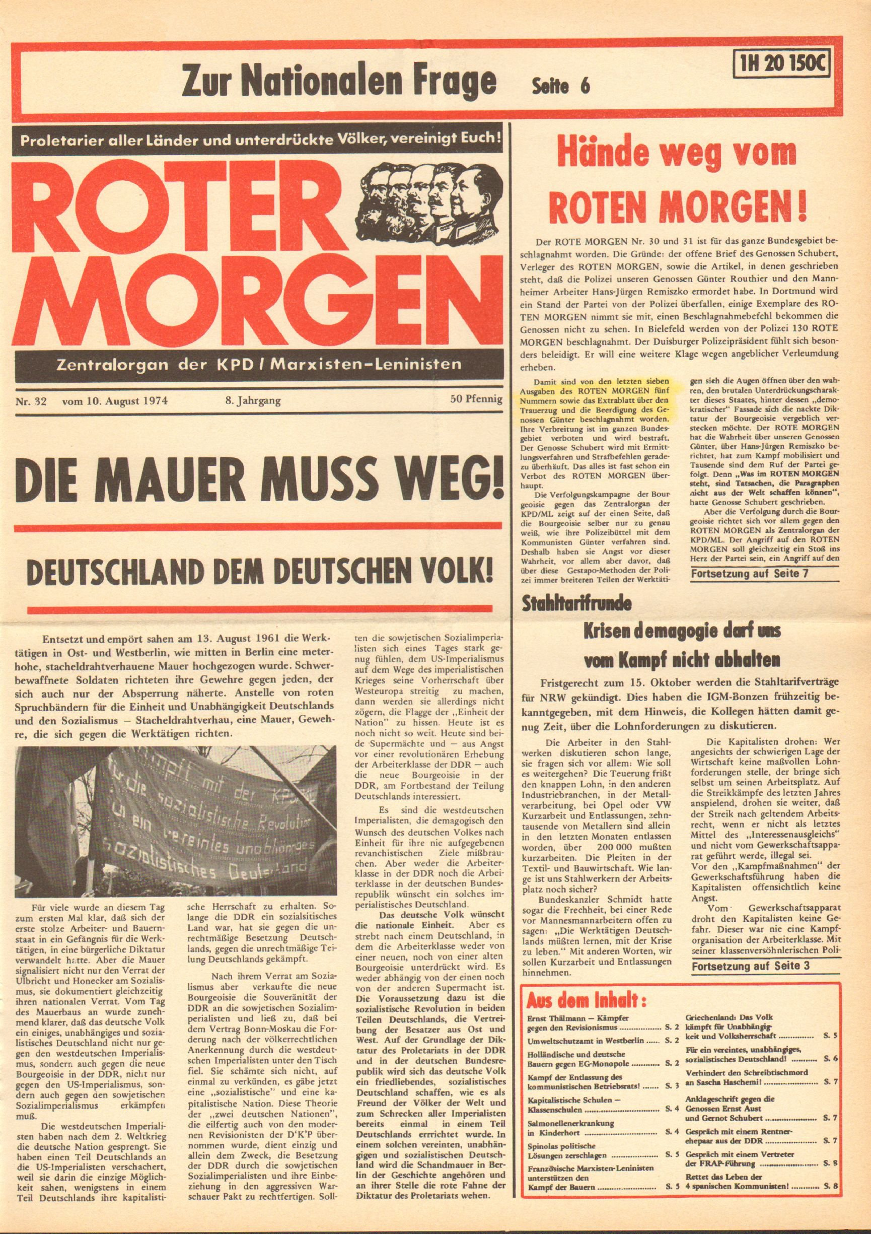 Roter Morgen, 8. Jg., 10. August 1974, Nr. 32, Seite 1