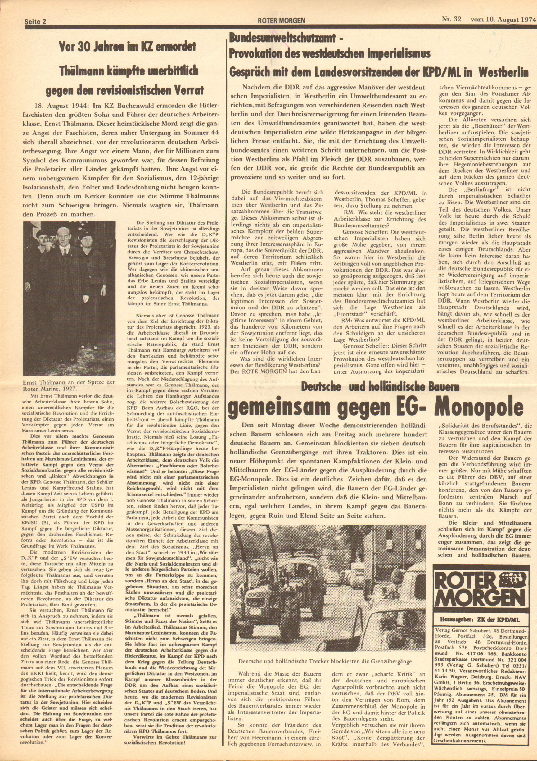 Roter Morgen, 8. Jg., 10. August 1974, Nr. 32, Seite 2