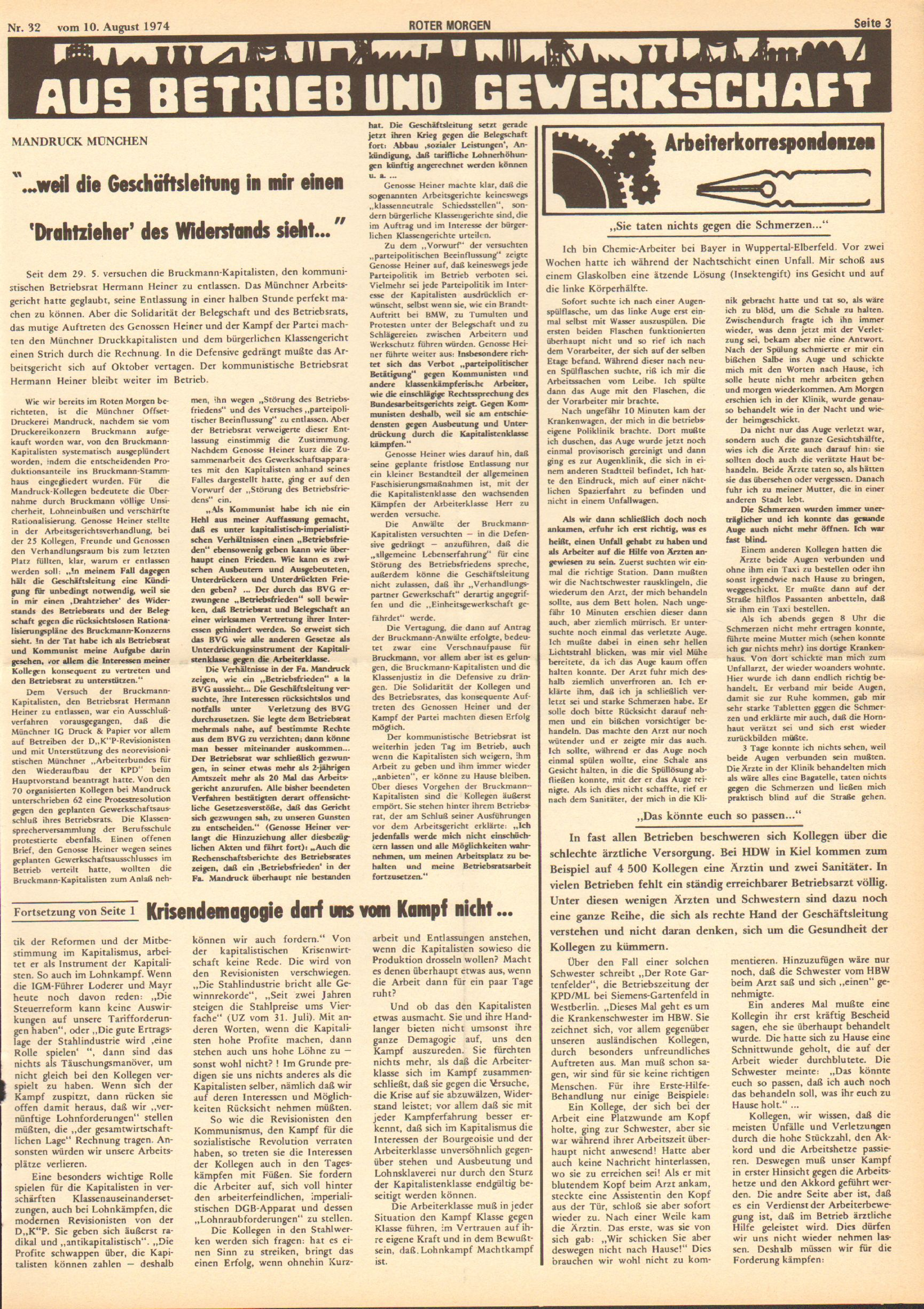 Roter Morgen, 8. Jg., 10. August 1974, Nr. 32, Seite 3