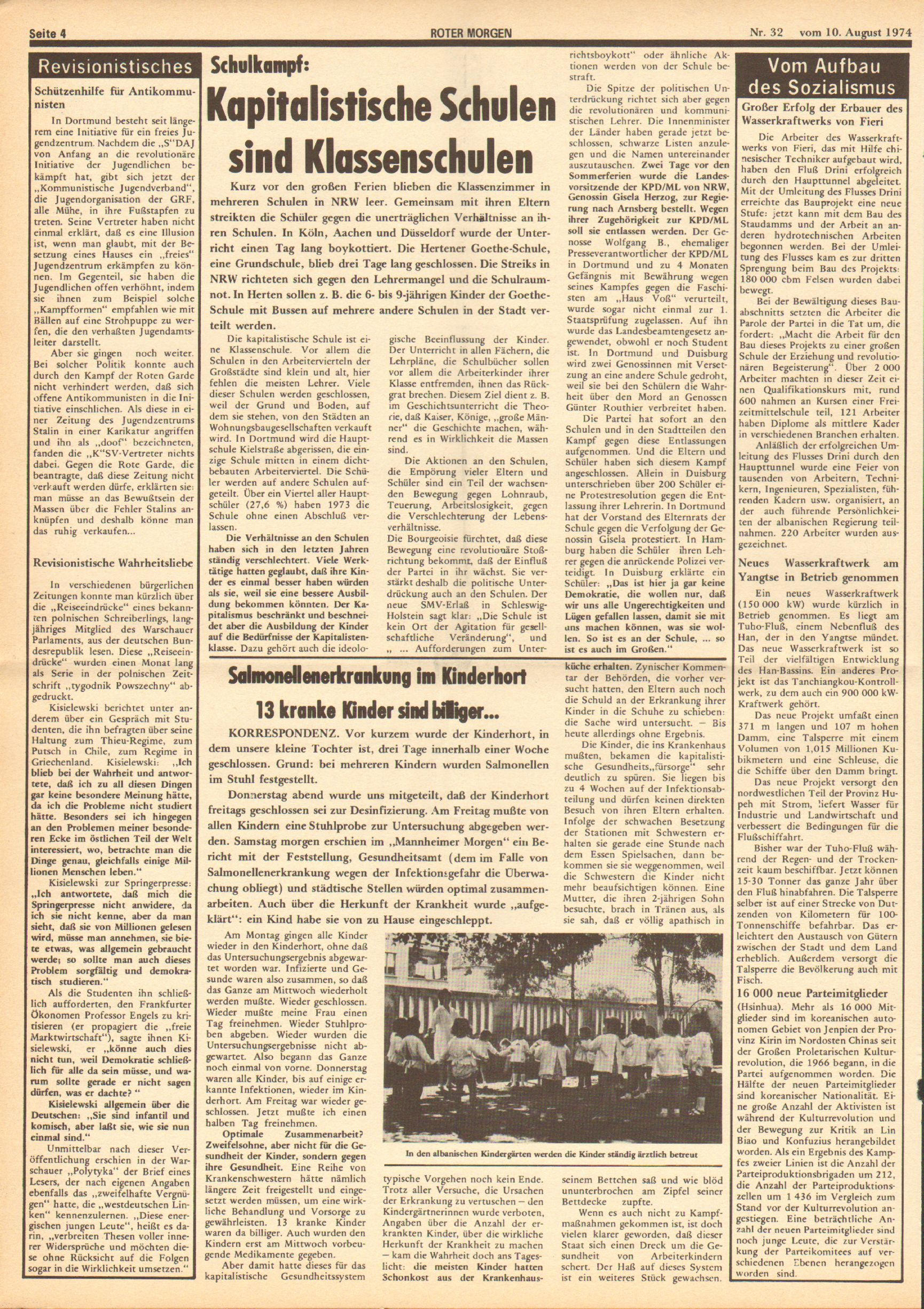 Roter Morgen, 8. Jg., 10. August 1974, Nr. 32, Seite 4