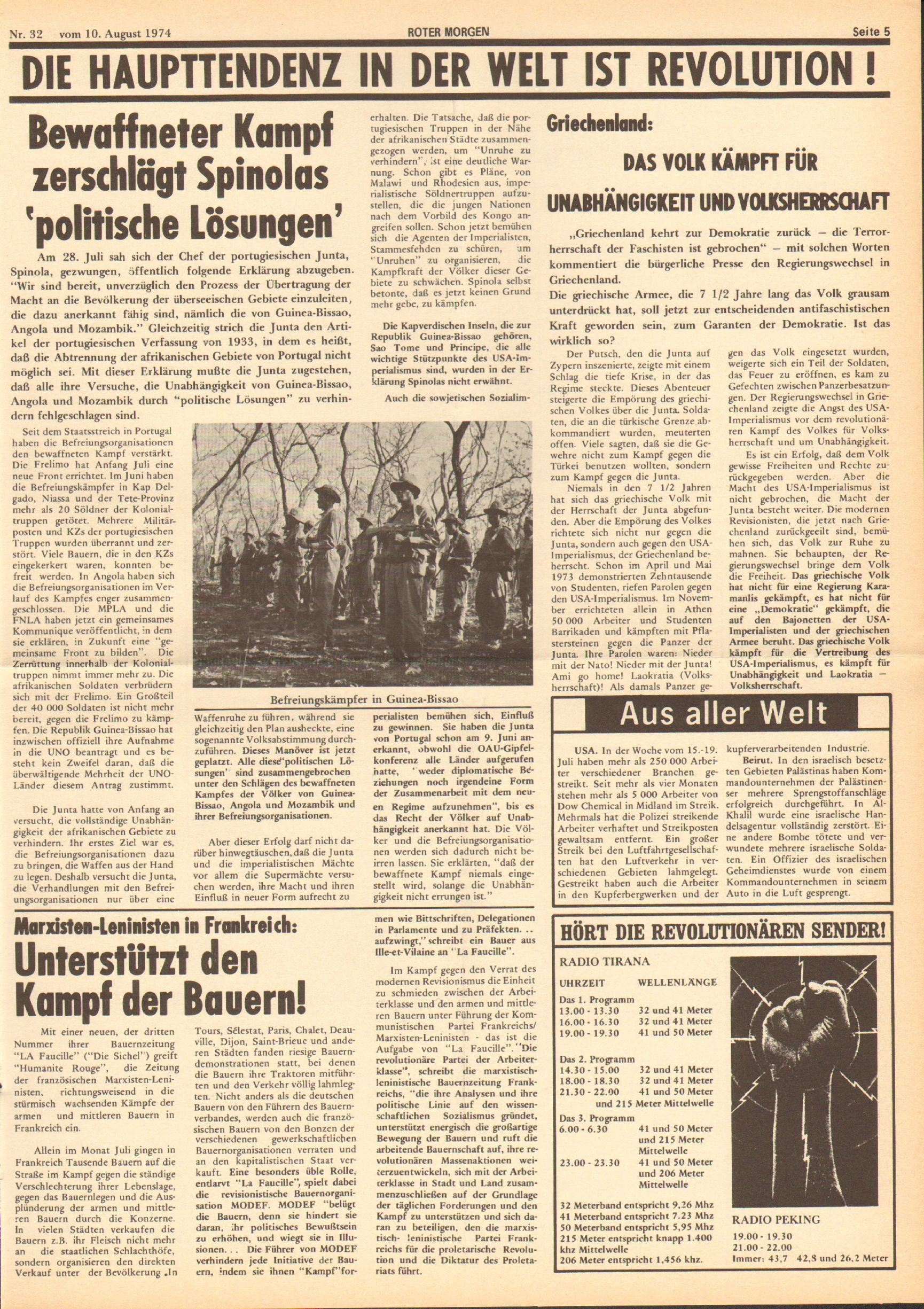 Roter Morgen, 8. Jg., 10. August 1974, Nr. 32, Seite 5