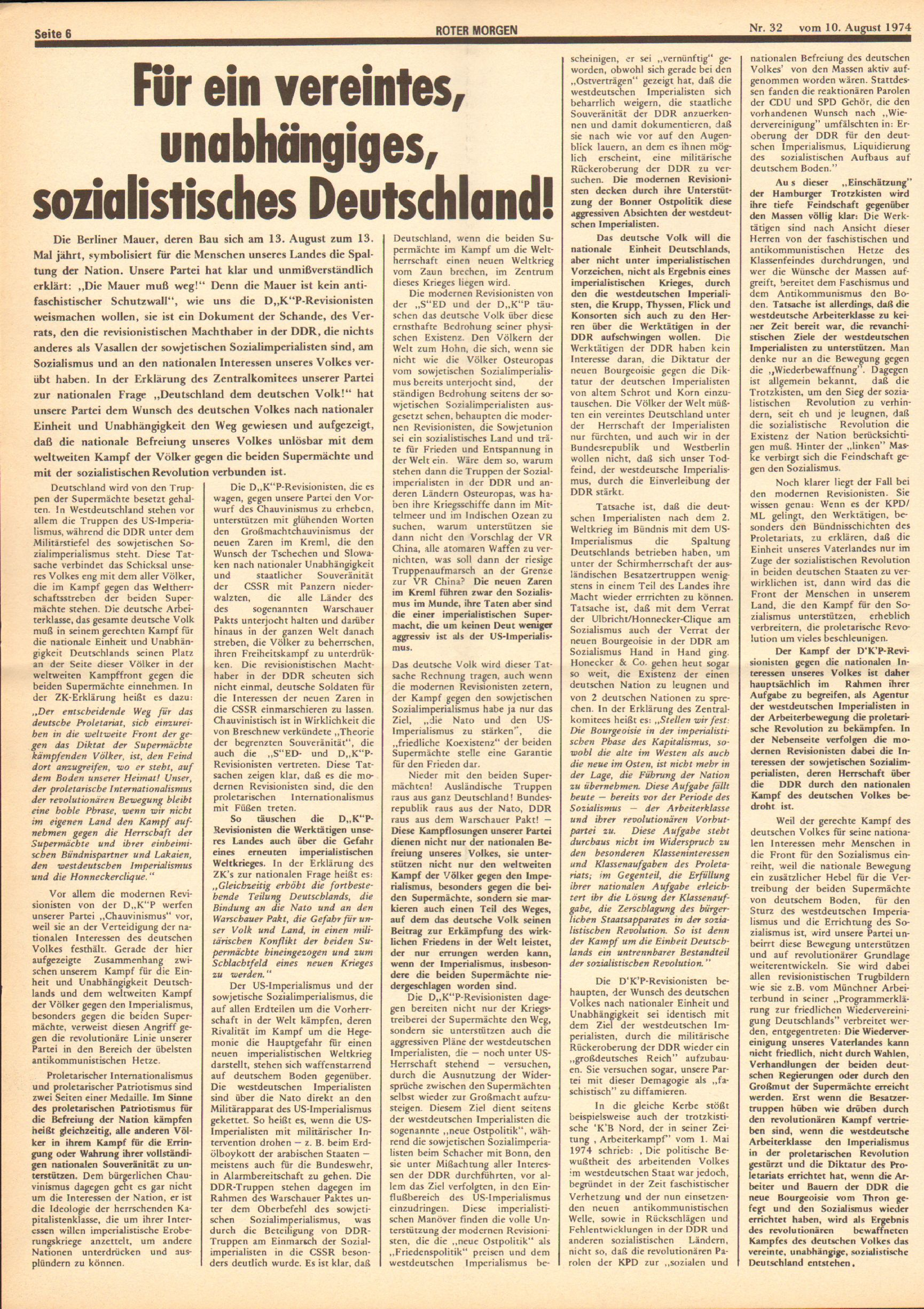 Roter Morgen, 8. Jg., 10. August 1974, Nr. 32, Seite 6