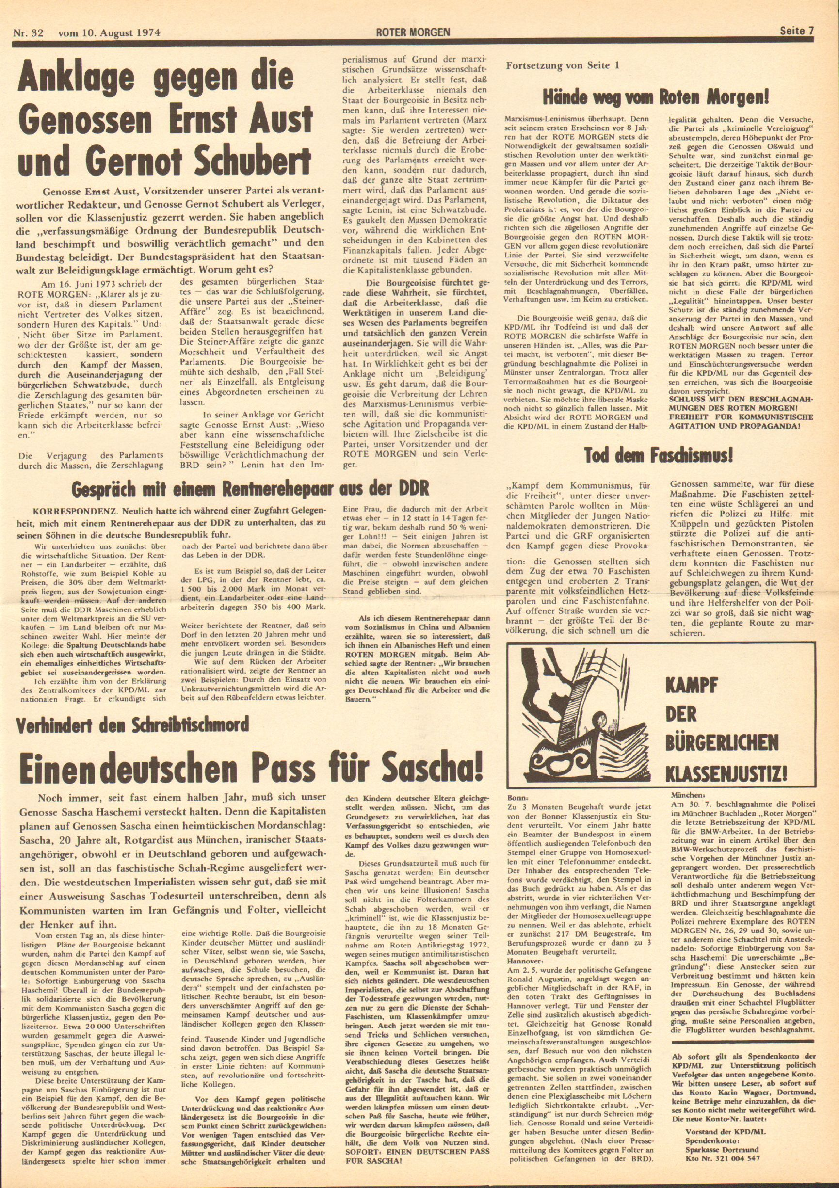 Roter Morgen, 8. Jg., 10. August 1974, Nr. 32, Seite 7